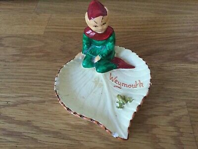 Vintage Manor Ware Pixie Sitting On A Lilly Pad  From WEYMOUTH. Maker's Mark. • 9.99£