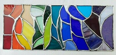 Handmade Abstract Stained Glass Rainbow Coloured Panel • 55£