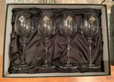 Crystal Wine Glasses - Franco Vetrerie E Cristallerie Set Of Four - NEW In Box • 20£
