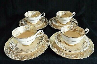 4 X PARAGON GOLD FILIGREE & PEACH/APRICOT COLOUR TRIOS - CUP, SAUCER & PLATE • 44.95£