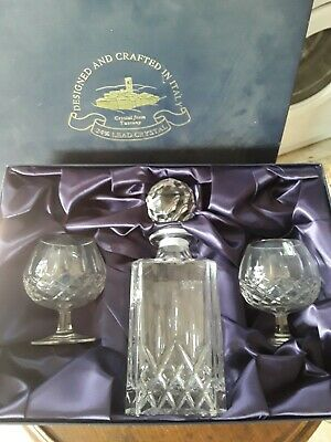 Vintage 'Cut Glass' Decanter With Two Matching Brandy Glasses Boxed • 8.40£