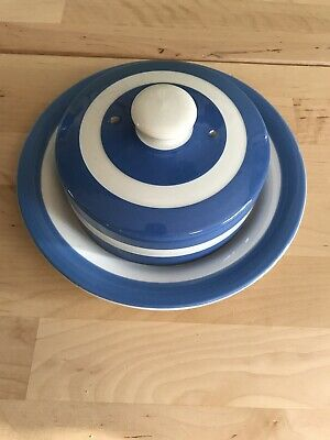 Vintage TG Green Cornishware Blue  Large Butter / Cheese Dish • 15£