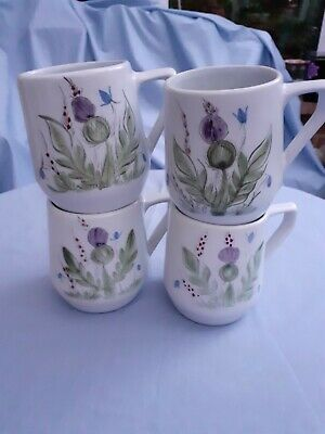 4 Vintage Buchan Stoneware Mugs - Thistle Pattern - Height 10 Cms/3.75 Inches • 20£