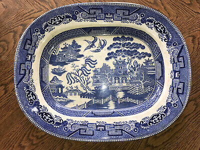 Vintage Crown Pottery J.T. Blue & White Willow Large Oval Serving Meat Plate • 9.99£