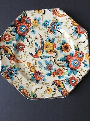 """2x 1930s Grimwades Royal Winton Ivory 8 Sided Plates/ Saucers  """"Exotic Birds"""" • 15£"""