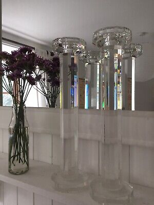 Beautiful Pair Of Kenneth Turner Crystal Candlesticks 38cm Regular Taper Candle • 2.20£