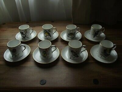 Vintage Set Of 8 Hammersley China Coffee Cans & Saucers British Birds Perfect!!  • 0.99£