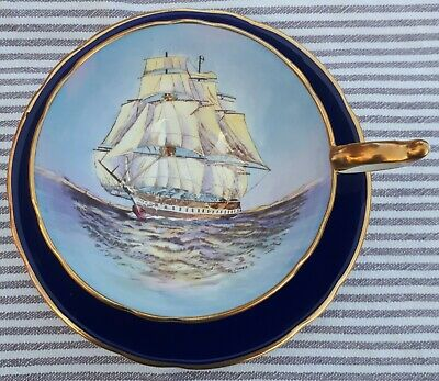 RARE Immaculate Aynsley Cobalt Blue Tea Cup & Saucer With Tall Ship / Clipper  • 5.50£