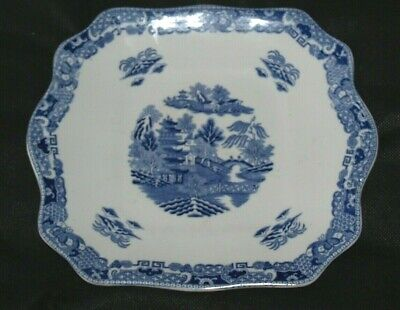 Antique Maling Cetem Ware Two Temples  Pattern Plate Blue & White  • 35£