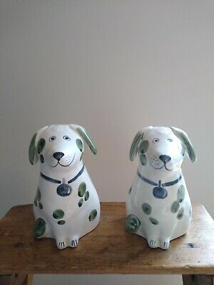 2 Rye Pottery Dog Figures - Hand Painted Green Spots With A Grey Collar • 20£