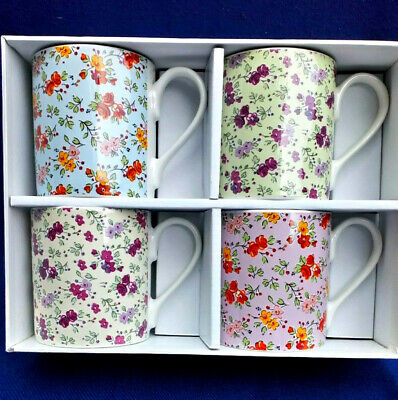 Queens Fine China ~ Caravan Trail Chintz ~ Set Of 4 New Boxed Mugs • 12£