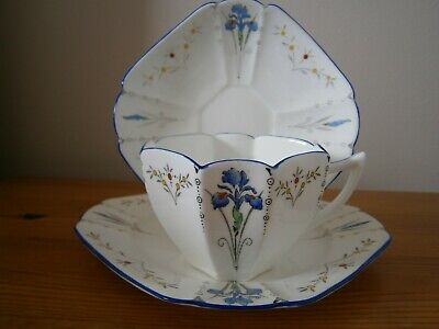 Shelley Queen Anne Blue Iris Cup Saucer And Two Matching Plates • 14.99£