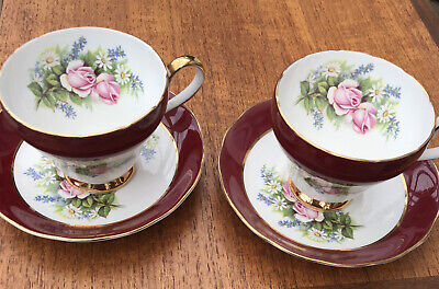 Two Royal Adderley Vintage Tea Cups And Saucers • 7£