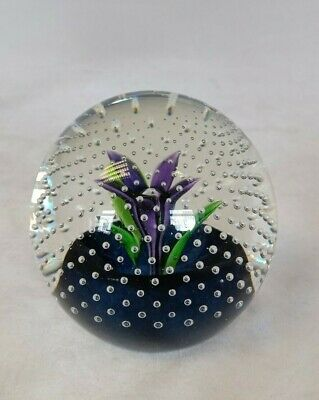 Caithness Glass Paperweight Purple Flower In The Rain Classic And Beautiful -W9 • 10£