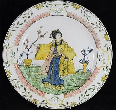 Unusual Antique Continental Tin Glaze Charger Chinoiserie Japonesque Delft • 99.99£