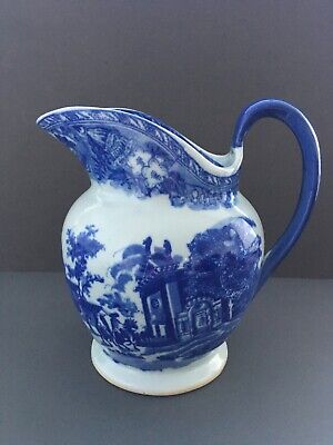 """Victoria Ware Ironstone Very Large Blue & White Jug Pitcher 9.5"""" 24cm Height. • 13.50£"""