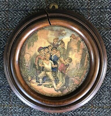 Framed Antique Pictorial Prattware Pot Lid - THE WOLF AND THE LAMB - No 361 • 9.95£