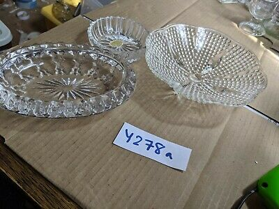 Vintage Pressed Glass  Bowl Dish Art Deco & 2 Others Y278a • 3.95£