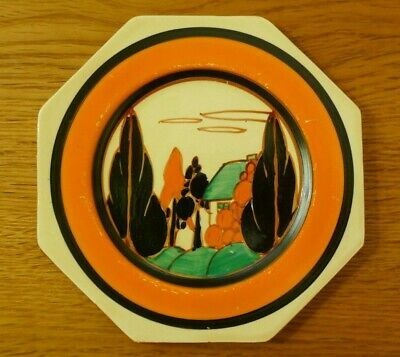 Clarice Cliff Orange 'Trees And House' Small Octagonal Side Plate - Circa 1930  • 165£