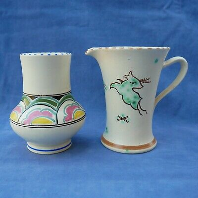 Pair Of Honiton Pottery Colourful Vases West Country Devon Ware Jug/Mug & Vase • 25£