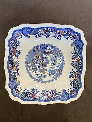 Excellent Condition Masons Ironstone Large Gold Willow Square Plate / Platter • 5£