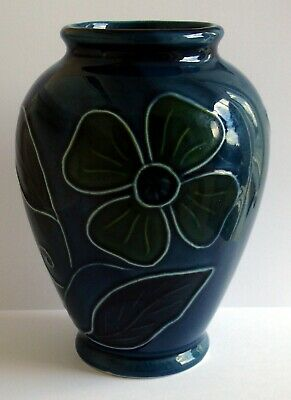 Baroque Ceramics Blue Tube Lined Vase With Bold Floral Pattern • 14.99£