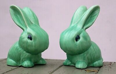 Pair Of Pottery Sylvac Type Snub Nosed Green Rabbits Bunny X 2 • 10.50£