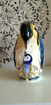 Royal Crown Derby Paperweight  Penguin And Chick ,. Gold Stopper. • 30£
