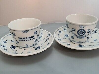 RARE B&G Bing Grondahl  Blue Fluted 1022  PALACE HOTEL 2 Designs  Cups Saucers  • 38.57£