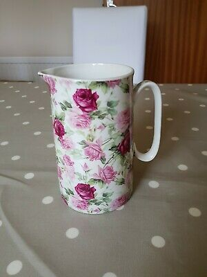 Heron Cross Pottery Jug, Pretty Floral Design In Pinks & Green. VGC • 7.75£