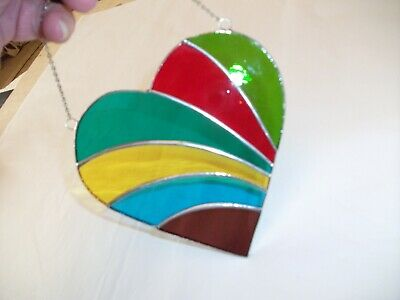 Stained Glass Handmade Rainbow Heart Sun-catcher / Window Decoration • 18£
