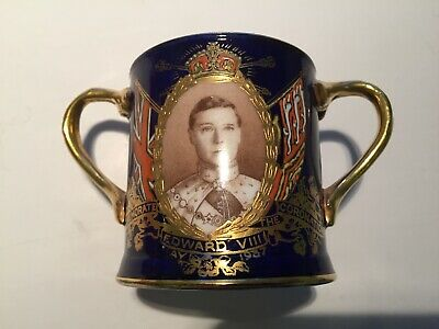 Rare 1937 Edward VIII Cobalt Blue Aynsley Small Coronation Loving Cup • 125£