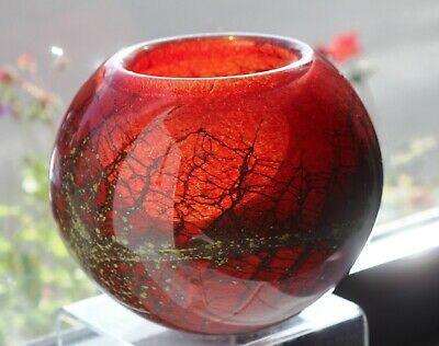 Phoenician Red Glass Oval Vase Signed To Base • 25£