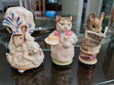 THREE Beswick Beatrix Potter Figurines, Mouse, Tailor,  Lady Mouse MINT • 24.62£