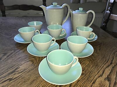 Vintage Poole Pottery Two Tone Ice Green Seagull Grey Coffee Set • 49.99£