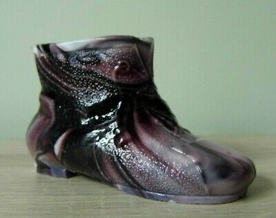 Vintage Sowerby Style Glass Purple Slag Shoe Unmarked 8 Cm X 5 Cm • 1.99£