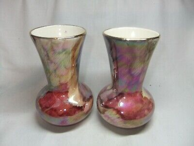 Pair Of Old Court Ware Iridescent Lustre Glazed Bud Posy Vases • 4.99£