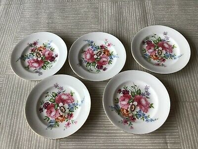 5  Vintage Crown Staffordshire Fine Bone China Floral Small Plates • 4.99£
