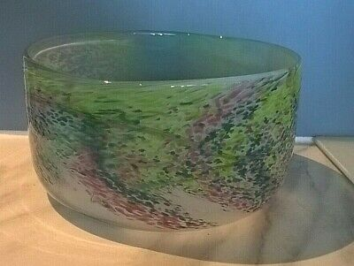 Lovely Large Signed Isle Of Wight Glass Bowl By William Walker 1980- Wysteria • 30£