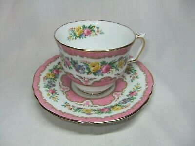 Crown Staffordshire Pink Tunis Bone China Cup & Saucer • 9.99£
