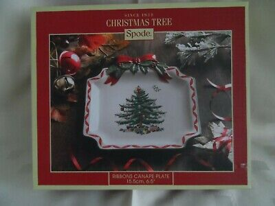 Spode Christmas Tree  Ribbons  Canape/Plate - Boxed. • 9.95£