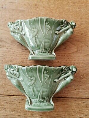 Vintage Wade Green MINIATURE  2 Handle Posy Vase MERMAID SEABED PATTERN 4  X 2 H • 25£