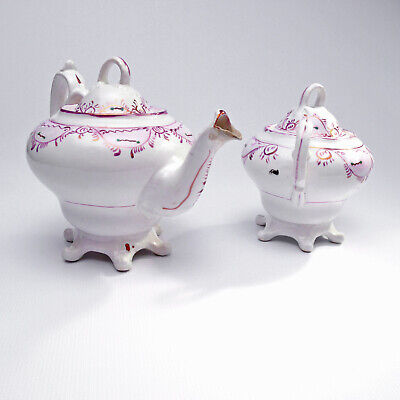 Royal Chelsea Victorian Style Footed Teapot Sugar Bowl Wartime Street Party Ware • 65£