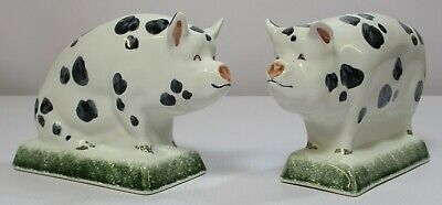 Rye Pottery Gloucestershire Old Spots Black/White Sow & Boar Pigs Pig Ornaments • 27.53£