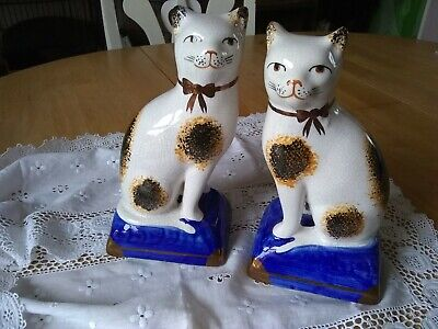 Pair Reproduction Staffordshire Style Pottery Cats  • 5£