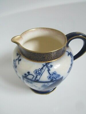 Doulton Burslem  Early 1900s Jug 7  Tall Oriental Design Blue And White • 15£