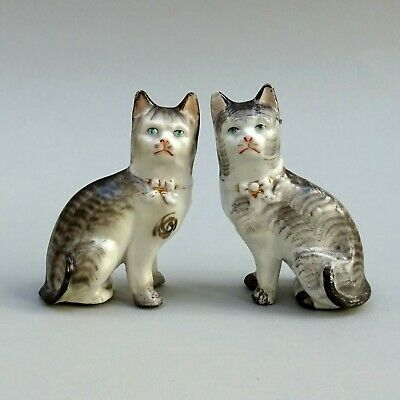 Small Pair Of 19thC Cats ~ 4  ~ Staffordshire Porcelaneous ~ Antique Miniature • 49.99£