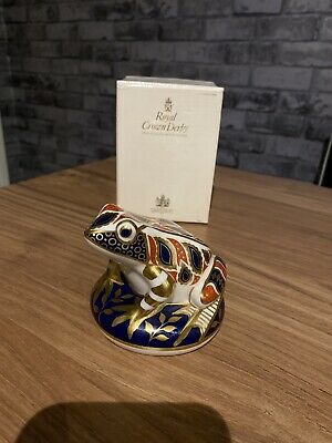 ROYAL CROWN DERBY FROG Complete With Gold Stopper Boxed • 13.50£