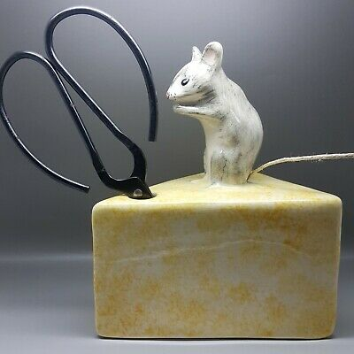 Vintage Babbacombe Pottery, Torquay, Mouse & Cheese String Scissor Holder • 14.99£