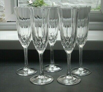 5 Cut Glass Crystal Champagne Flutes, Faceted Stem • 15.99£